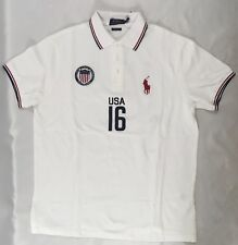 Ralph Lauren Men's Polo USA Number 16 Custom Fit Shirt White Size M