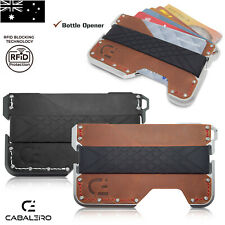 Mens RFID Slim Aluminium Brown Leather Credit Card Holder Wallet
