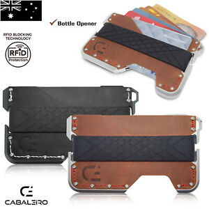 Mens RFID Slim Aluminium Brown And Black Leather Credit Card Holder Wallet