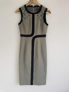 Karen Millen Size AU 8 Brown Black Trim Pencil Dress