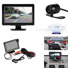 4.3'' TFT Car Rear View Reversing Monitor+Parking Mirror Night Vision Camera Kit