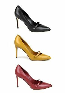 $675 New Authentic Gucci Classic Leather Pointy Toe Pump Button Strap 338722