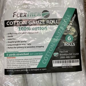 Cotton Gauze Roll 6-Ply 4.5 Inch X 4 Yard Sterile FlexTrek, Pack of 6
