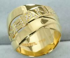 AUTH CHANEL 18KT Yellow Gold & Diamond Buldoc Ring Sz. 6