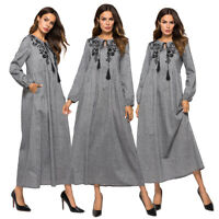 Muslim Women Long Sleeve Embroidery Maxi Dress Abaya Vintatge Kaftan Islamic New