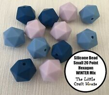 12 x 14mm Winter Mix Icosahedron 20PT Silicone Beads (was teething) Bead Hexagon