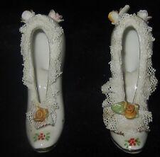 Vintage Miniature Ceramic High Heels Floral Figurines Made In Japan