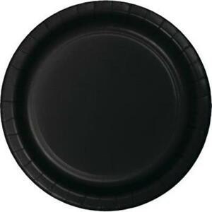 "Black 7"" Paper Plates 24 Per Pack Black Tableware Party Decorations Supplies"