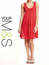 M&S Marks & Spencer RED Ruched Scoop Neck Burnout Shift Tunic Dress Size 10 - 20