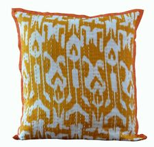 """Pure Cotton Indian Handmade Square Kantha Cushion Cover Throw 16X16"""" Ikkat Print"""