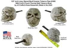 Evil Human Skull Replica Ceramic Glass Pocket Niki Tobacco Pipe Made in USA