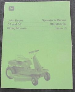 ORIGINAL 1971 JOHN DEERE 55 56 RIDING MOWER TRACTOR OPERATORS MANUAL VERY CLEAN