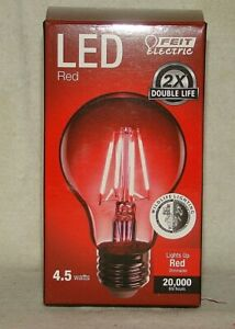 Feit Clear Glass Holiday Christmas Red LED Dimmable Light Bulb 4.5 Watts