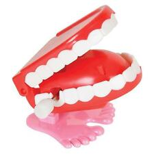 1 Funny JUMPING CHATTERING TEETH Small Wind Up Joke Magic Gag Feet Toy Mouth NEW