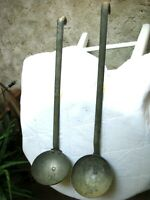 """2 Vintage Hooked  METAL DIPPER LADLE French Style 15"""" & 14"""""""