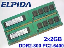 4GB 2x2GB DDR2-800 PC2-6400 240pin 800Mhz ELPIDA PC DESKTOP RAM Arbeitsspeicher