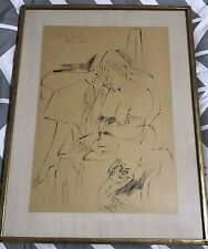 Pericle Fazzini figural drawing Crayon Sketch  Dated 1957