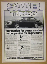 1978 Saab 99 Turbo car photo vintage print Ad