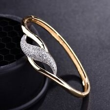 18K Two Tone Gold Filled Sapphire Crystal Womens Infinity Bangle Cuff Bracelet