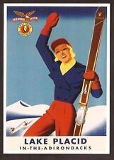 Lake Placid - Sci - Riproduzione su cartolina di pubblicità d'epoca