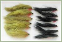 Zonkers, Trout Flies, 12 Pack Gold Head Black & Olive  Zonkers, Mixed Size 8/10