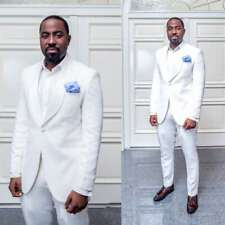 White Groom Tuxedos Men Suits Slim Fit Wedding Jacket Pants 38 40 42 44 46 48 50