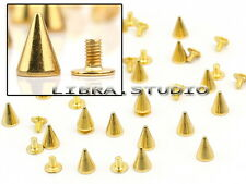 20 Metal Punk Spikes Screwback Cone Studs Shoes DIY 10mm Gold Rock Leather Craft