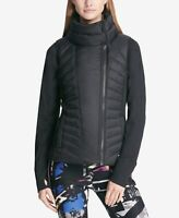 Dkny Womens Sport Asymmetrical-Zip Vest Matte Black Size Medium
