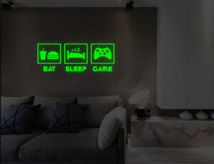 Luminous Eat Sleep Game Controller Wall Stickers Bedroom Lounge Decals UK 50k
