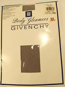 NWT Vtg Givenchy Body Gleamers Shimmery Lycra Control Top Pantyhose C Silver Fox