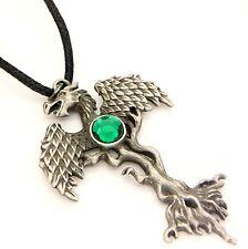 Greenwood Dragon Tree Amulet Pendant Necklace Pewter Green Crystal GW05