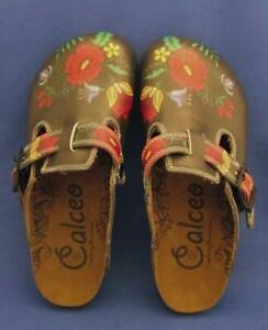 Red, Grey, Yellow Colored Flowers Patterned Cork Sole Clogs - WCAL355 Size 35