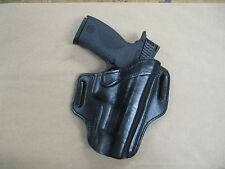 S&W Smith & Wesson M&P M2.0 Leather 2 Slot Molded Pancake Belt Holster BLK RH