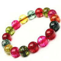Tourmaline Candy color Gemstone bracelet Bless Veins Buddhism Reiki pray Wrist