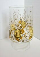Vintage~ Clear Glass Pedestal Tumbler with Rose Pattern Gold