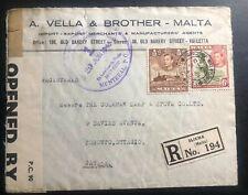 1945 Sliema Malta Commercial Censored Cover To Toronto Canada
