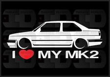 I Heart My MK2 Sticker Love VW Volkswagen Slammed Euro Germany GLI Jetta Coupe