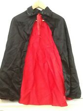 """Dracula Vampire Cape Child's 30"""" Black Red Lined Sequin Collar"""