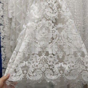 White Floral Sequin African Lace Fabric Flower Embroidered Wedding Bridal Dress