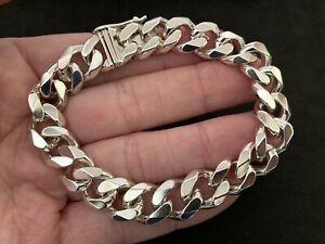 Mens Sterling Silver Curb Bracelet UK Hallmark. Excellent Condition