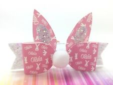 Easter *ANY NAME* Bunny Ears And Tail - 1 X Personalised Hair Bow And Ears 3.5""