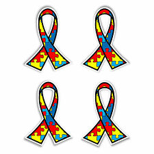 Autism awareness jigsaw ribbon car bumper stickers set of 4 vinyl decals 40.5 mm