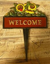 cartello welcome in ghisa con girasoli cm  21 x 28 etnico vintage