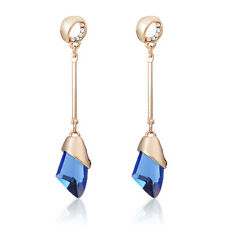 Gold Plated Long Light Blue Austrian Crystal Drop Dangle Push Back Earrings