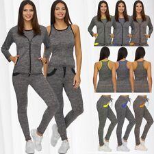 Damen GYM Sport Anzug Yoga Fitness Training Set Dreiteiler Workout Leggings