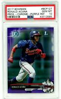RONALD ACUNA 2017 Bowman Chrome PURPLE Refractor Rookie RC 043/250 PSA 10 Gem