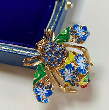 SIGNED JOAN RIVERS ENAMEL/CRYSTAL GOLD PLATED BUG BROOCH/PIN