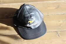 Vintage Black Leather Ford Mustang Hat Adjustable