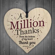 a Million Thanks Friendship Sign Nursery Teacher Nurse Wood Heart Thank You Gift