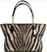 NWT COACH MADISON ZEBRA PRINT NORTH SOUTH TOTE F26633